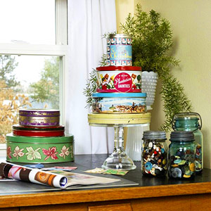 REPURPOSE COOKIE TINS TO STORE STAMPS IN STYLE