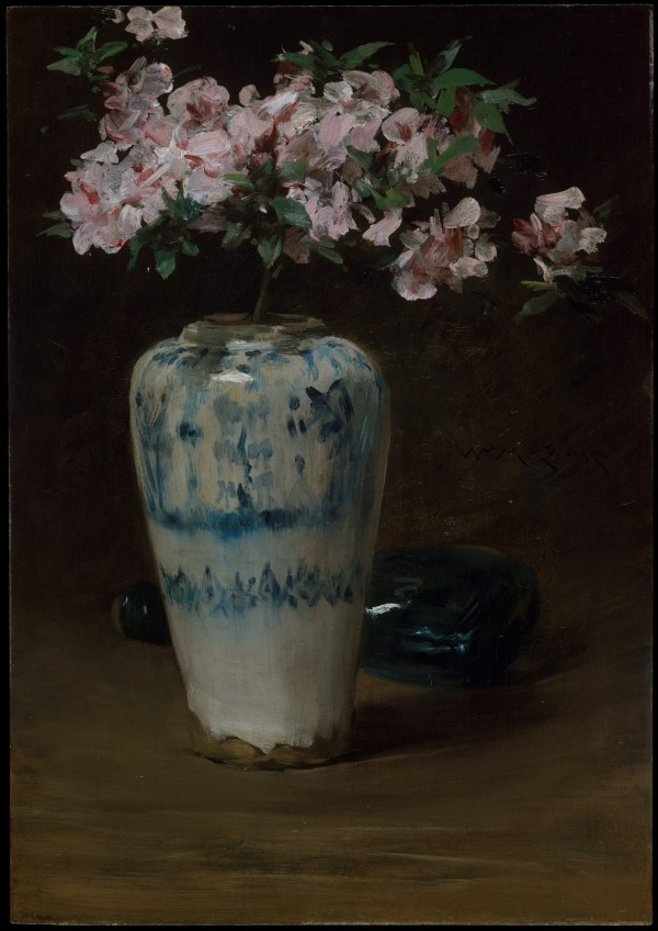 William Merritt Chase Pink Azalea Chinese Vase