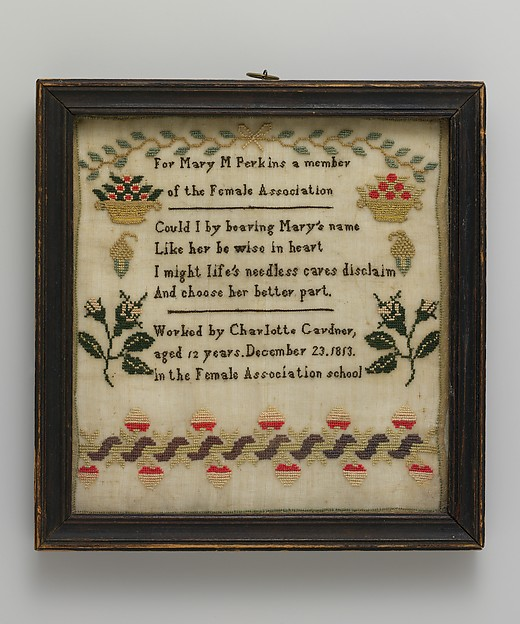 Embroidered Sampler made at the Female Association Quaker School