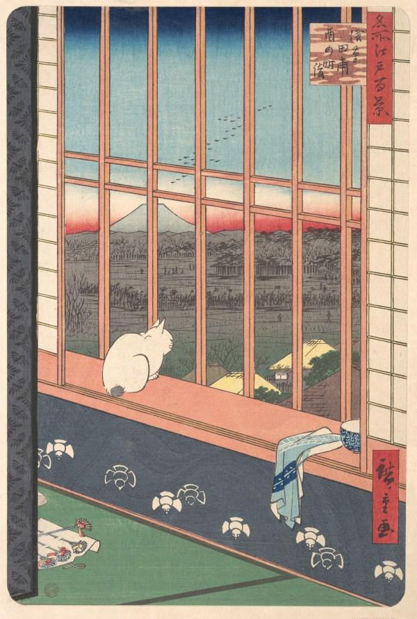 Utagawa Hiroshige Revelers Returned Tori