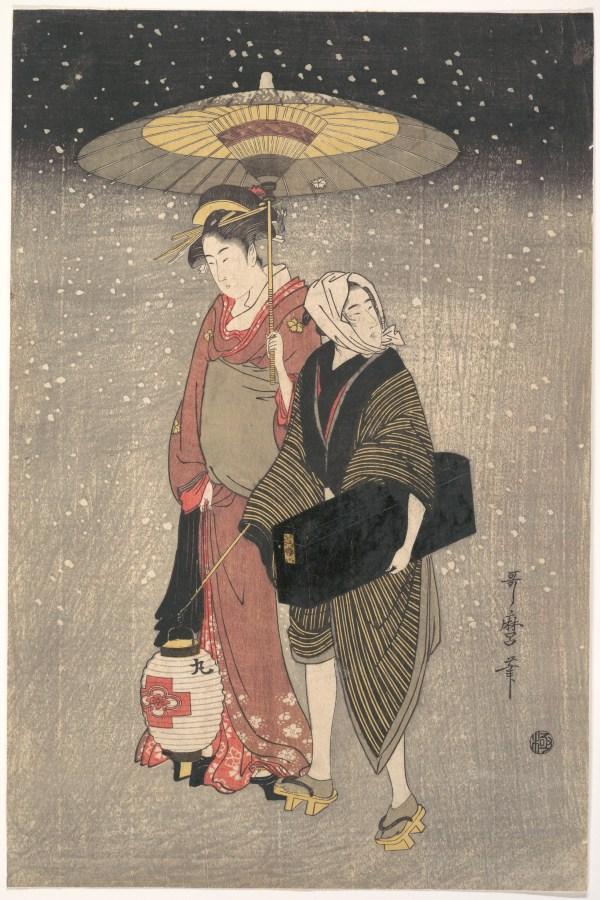 Kitagawa Utamaro Geisha Walking Snow