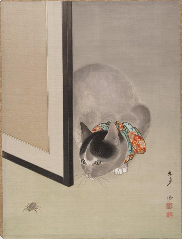 Ide T Cat Watching Spider Japan Meiji Period