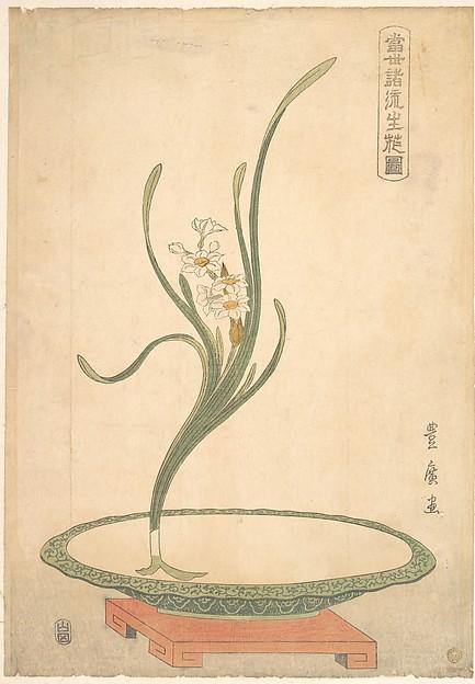 Obra de Utagawa Toyohiro (época Edo) con narciso (suisen)