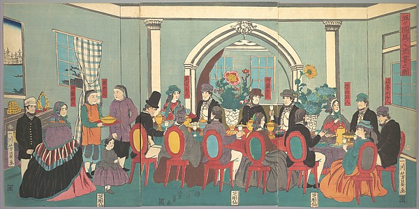 Foreigners from the Five Nations Enjoying a Banquet