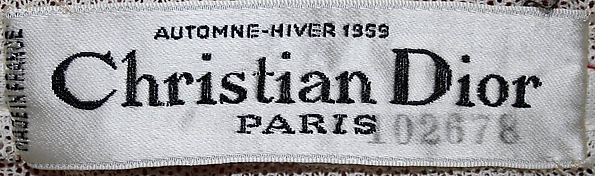 Christian Dior label, fall-winter 1959 at the Metropolitan Museum of Art