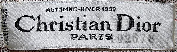 Christian Dior label, fall-winter 1959 at the Metropolitan Museum of Art