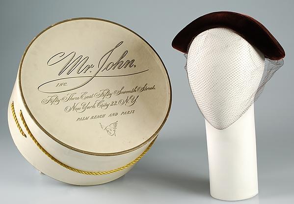 1950s Mr. John silk hat with hat box
