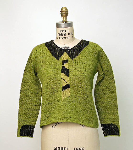 Green, black and yellow wool Schiaparelli Sweater, 1930s