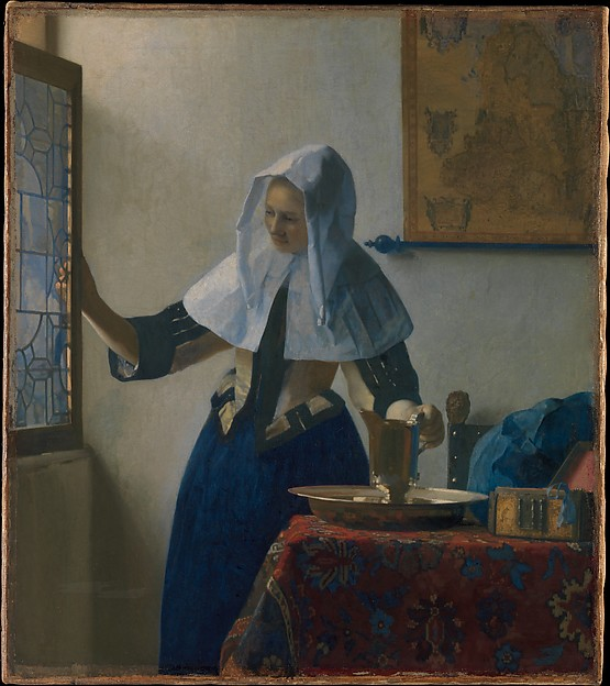 Young Woman with a Water Pitcher, Johannes Vermeer (Dutch, Delft 1632–1675 Delft), Oil on canvas