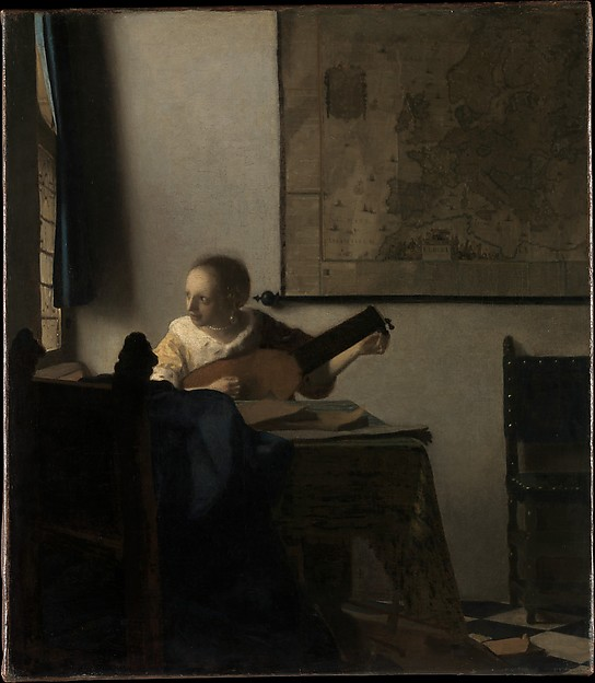 Woman with a Lute, Johannes Vermeer (Dutch, Delft 1632–1675 Delft), Oil on canvas