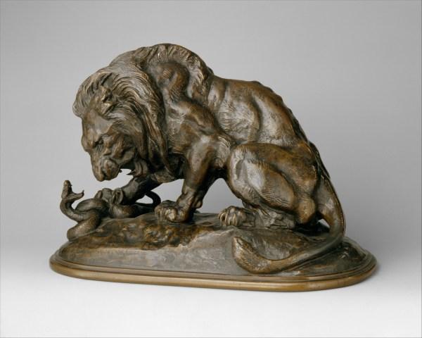 Antoine-louis Barye Lion And Serpent Au