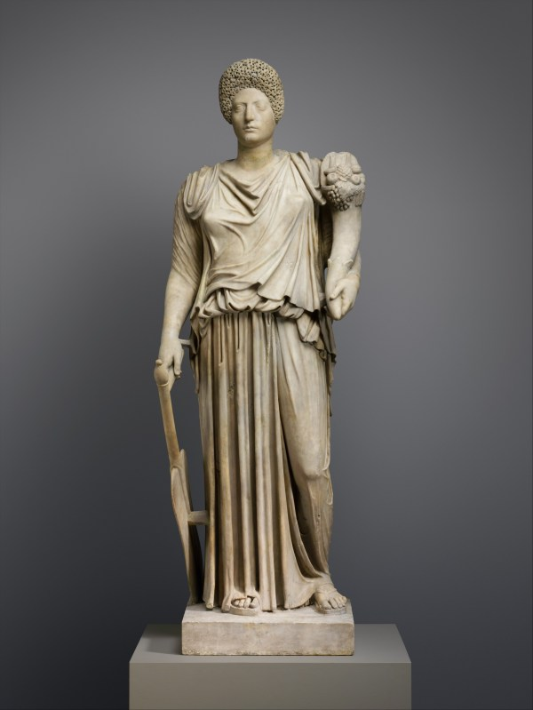 Marble Statue Of Tyche-fortuna Restored With Portrait