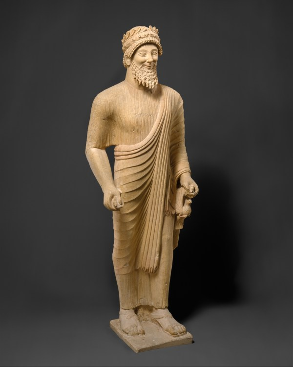 Limestone Statue Of Bearded Man With Votive Offerings Cypriot Classical Met