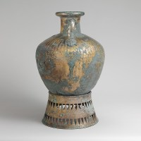 Greek  bronze-pointed neck amphora with stand