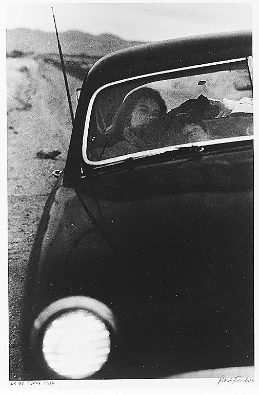 """Robert Frank's """"U.S. 90, en route to Del Rio, Texas"""""""