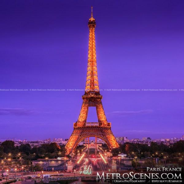 Purple Eiffel Tower Paris France