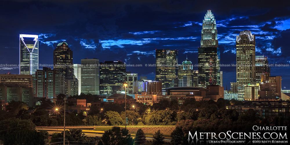 Charlotte Skyline Panorama at night 2013