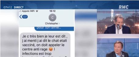 L'un des SMS montré dans l'émission sur RMC datant de mai 2019.