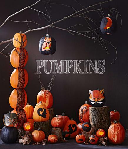 Carved Leaves Pumpkins