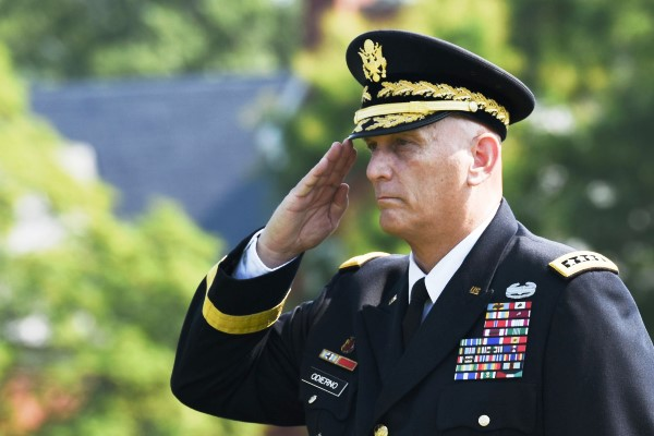 Army Gen. Ray Odierno retires as the 38th Chief of Staff in a ceremony Aug. 14, 2015 at Joint Base Myer-Henderson Hall, in Arlington, Virginia. (Photo by Spc. Cody Torkelson)
