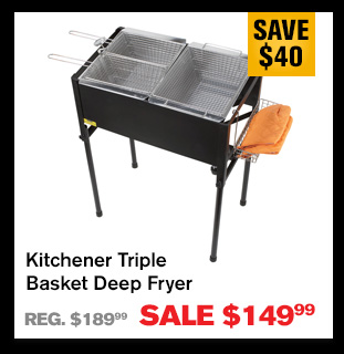 kitchener triple basket deep fryer kitchen uniforms northerntool com black and gold sale special free gift card offer buy item 304470 now for 149 99