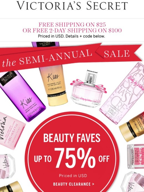 Victorias Secret Up to 75 off beauty SemiAnnual Sale