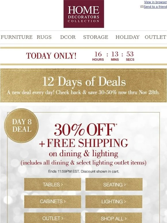 Home Decorators Collection 12 Days Of Deals! 30 Off FREE