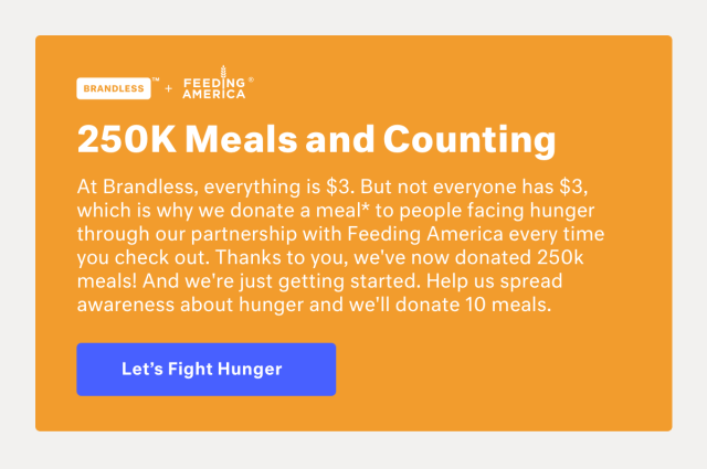Image result for brandless and feeding america