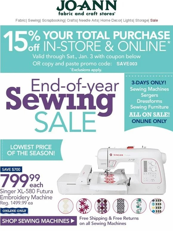 Joann Sewing Machines : joann, sewing, machines, Jo-Ann, Fabric, Craft, Store:, Sewing, Machines,, Sergers, Dressforms, Sale!, Milled
