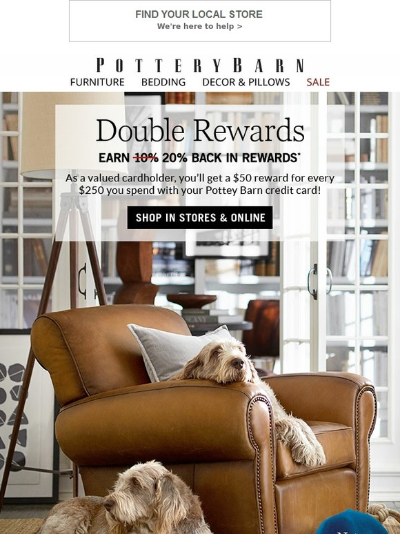 Pottery Barn Card Login : pottery, login, Pottery, Barn:, Double, Rewards, Cardholders!, Gifts, They'll, Love…, Milled