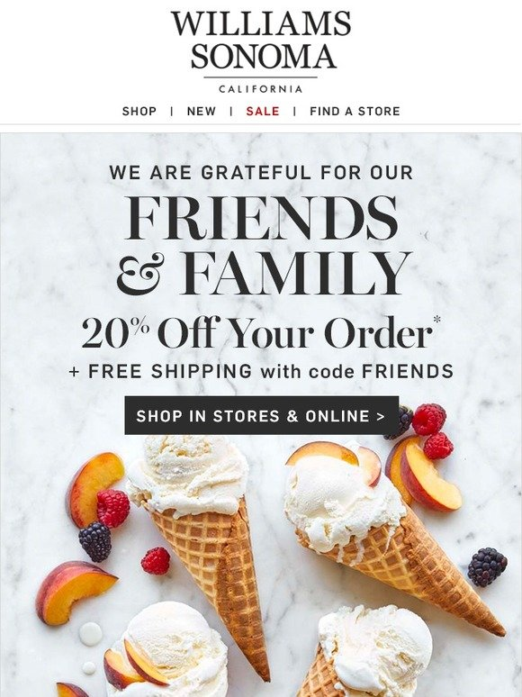 Comenity Bank William Sonoma : comenity, william, sonoma, Williams-Sonoma:, Friends, Family—20%, Shipping, Starts, Milled