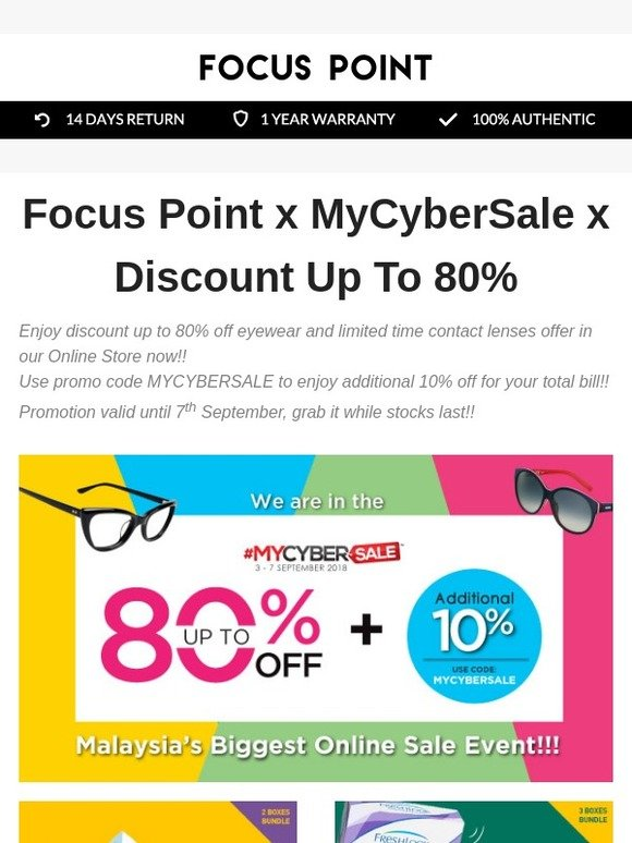 Promo Grab September 2018 : promo, september, Focus, Point, (MY):, MyCyberSale, Discount, 80%😍, Milled