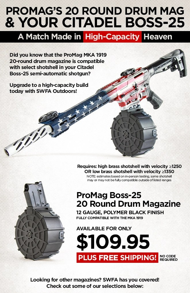Riflescopes Com High Capacity 12 Gauge Drum Magazine For The Boss 25 Now Available Milled