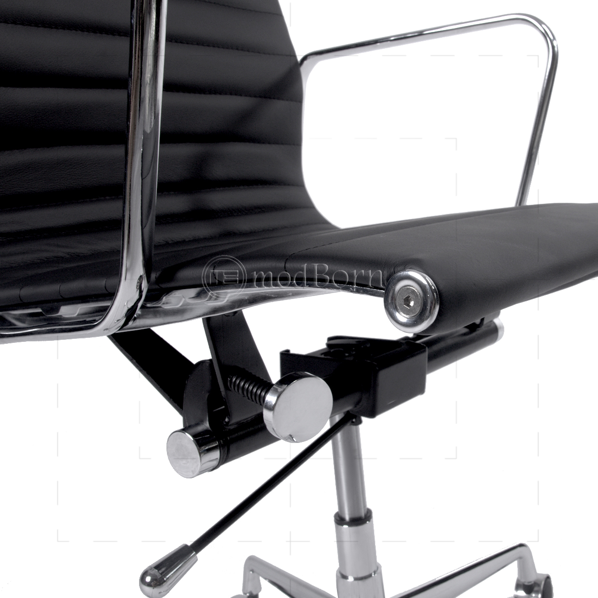 EA119 Eames Style Office Chair High Back Ribbed Black