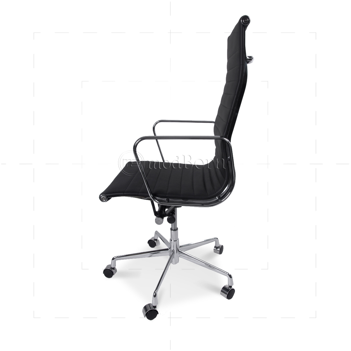 black leather office chair high back shaker tape ea119 eames style ribbed