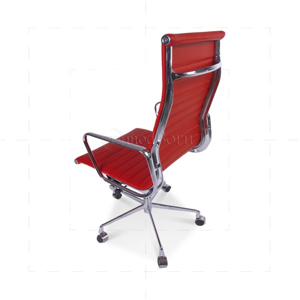 Red High Back Executive Leather Office Chair