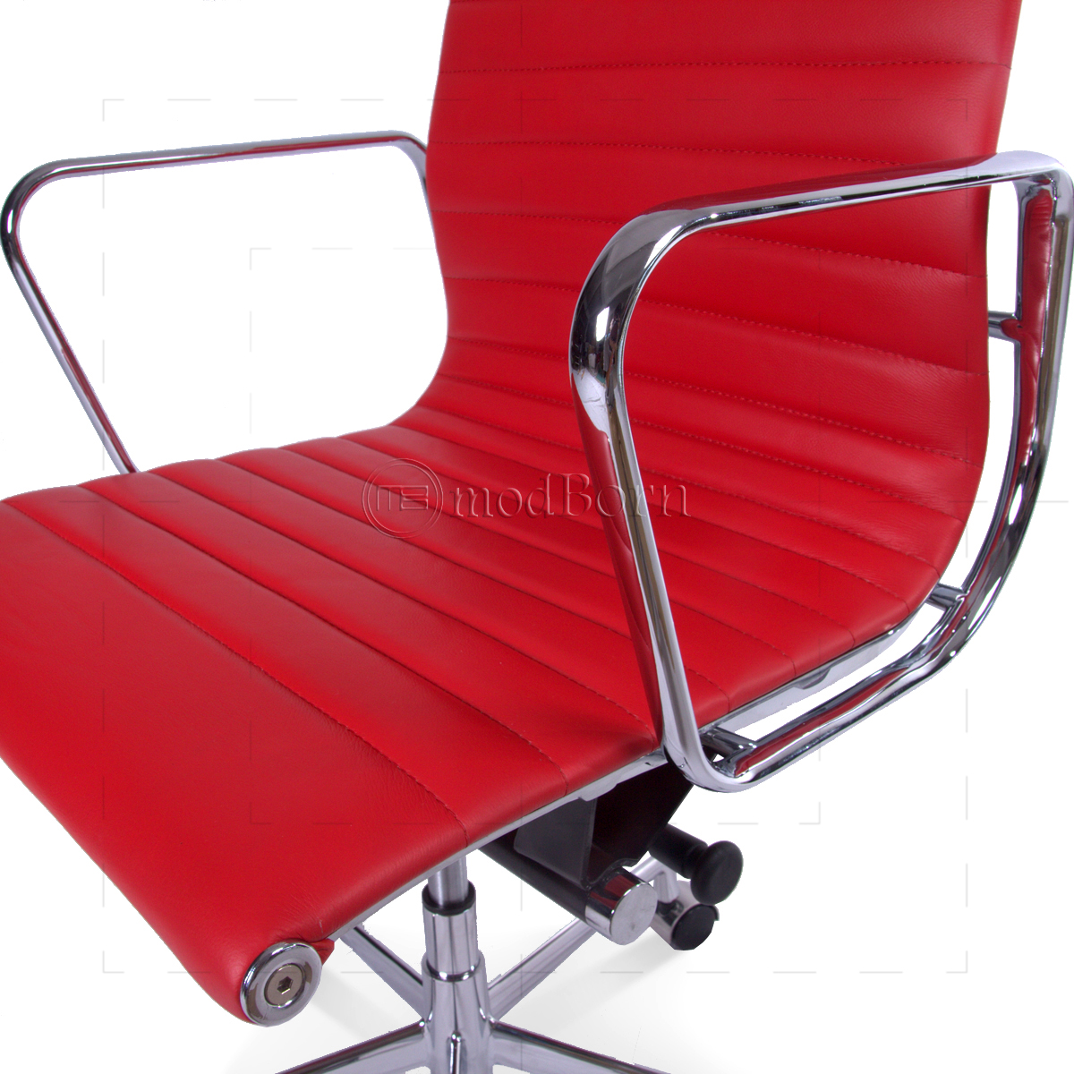 Red Leather Office Chair Ea119 Eames Style Office Chair High Back Ribbed Red