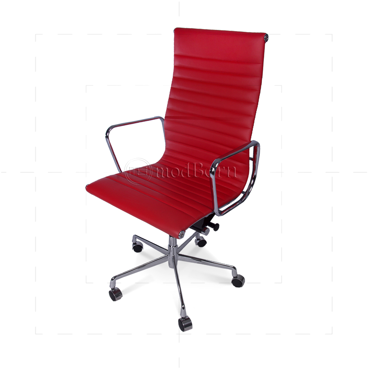 EA119 Eames Style Office Chair High Back Ribbed Red