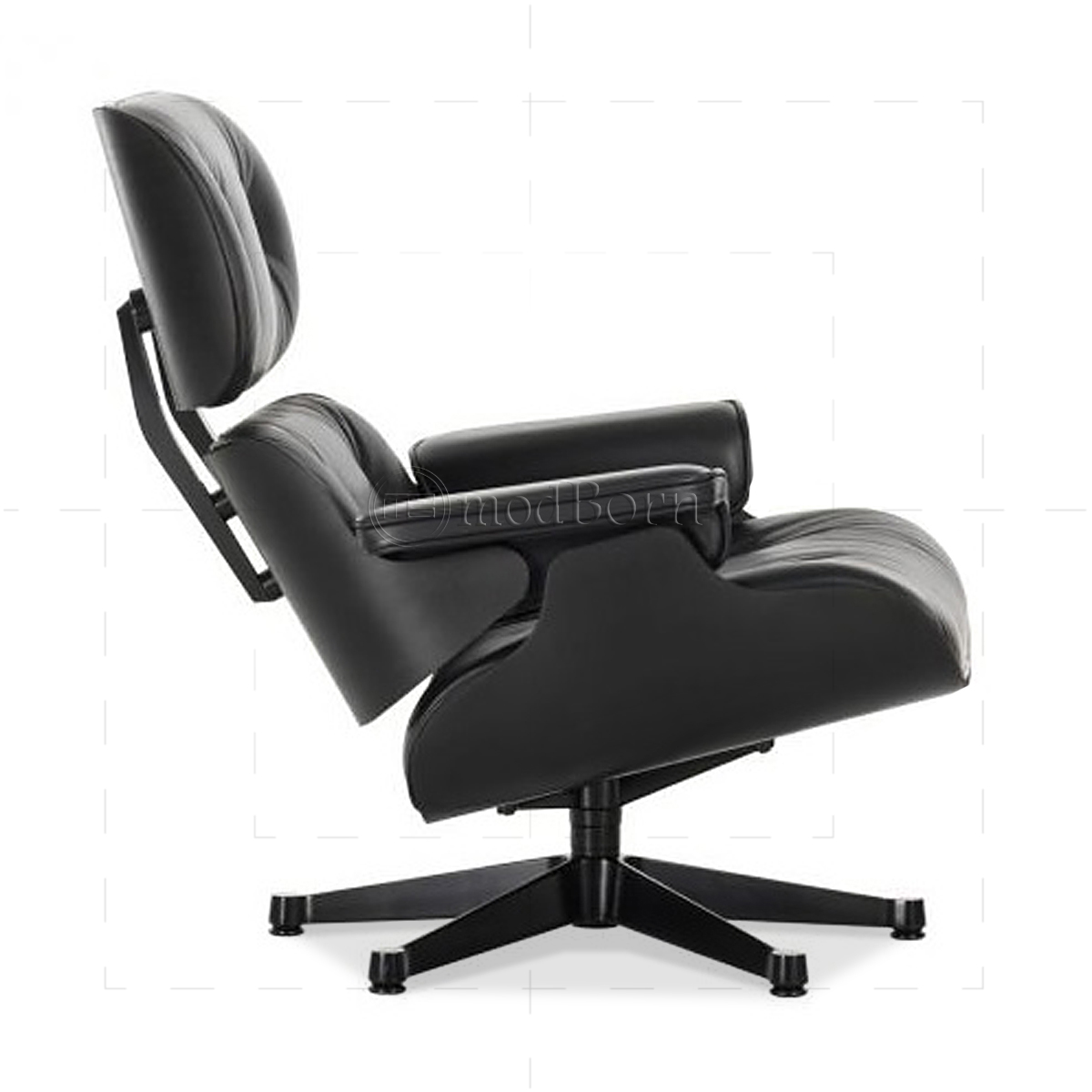 black chair and ottoman ebay teal covers eames style lounge leather wood