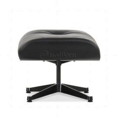 Black Leather Club Chair And Ottoman Patio Table Covers Eames Style Lounge