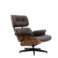 Eames Style Lounge Chair and Ottoman Brown Leather Walnut Wood