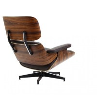Eames Style Lounge Chair and Ottoman Brown Leather Walnut ...