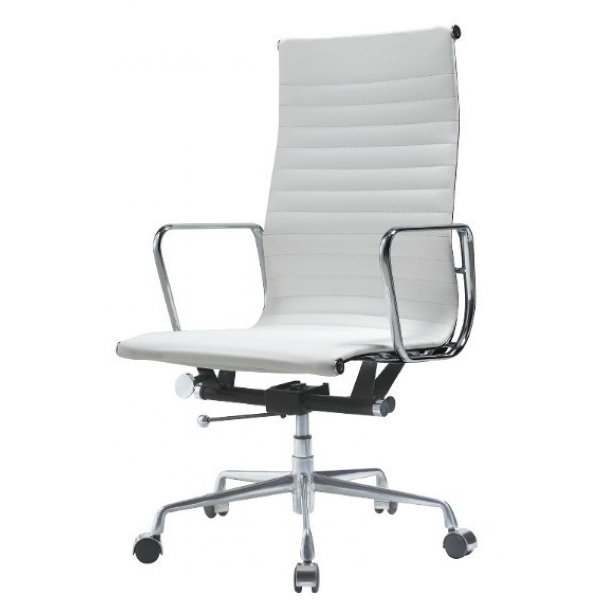 EA119 Eames Style Office Chair High Back Ribbed WHITE