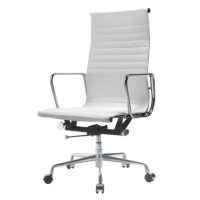 EA119 Eames Style Office Chair High Back Ribbed WHITE Leather