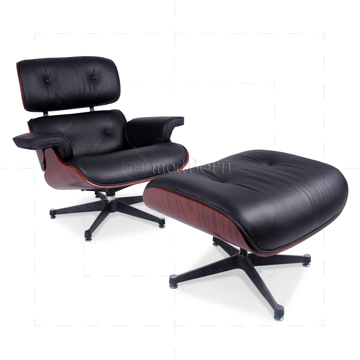 eames style lounge chair and ottoman rosewood black leather rattan chairs australia