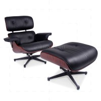 Eames Style Lounge Chair and Ottoman Black Leather ...
