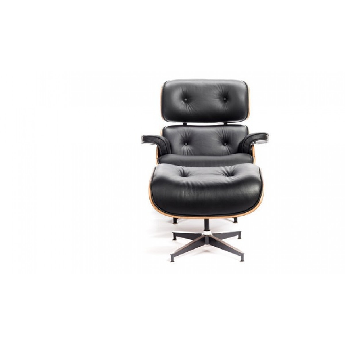black leather club chair and ottoman linen wingback eames style lounge oak plywood