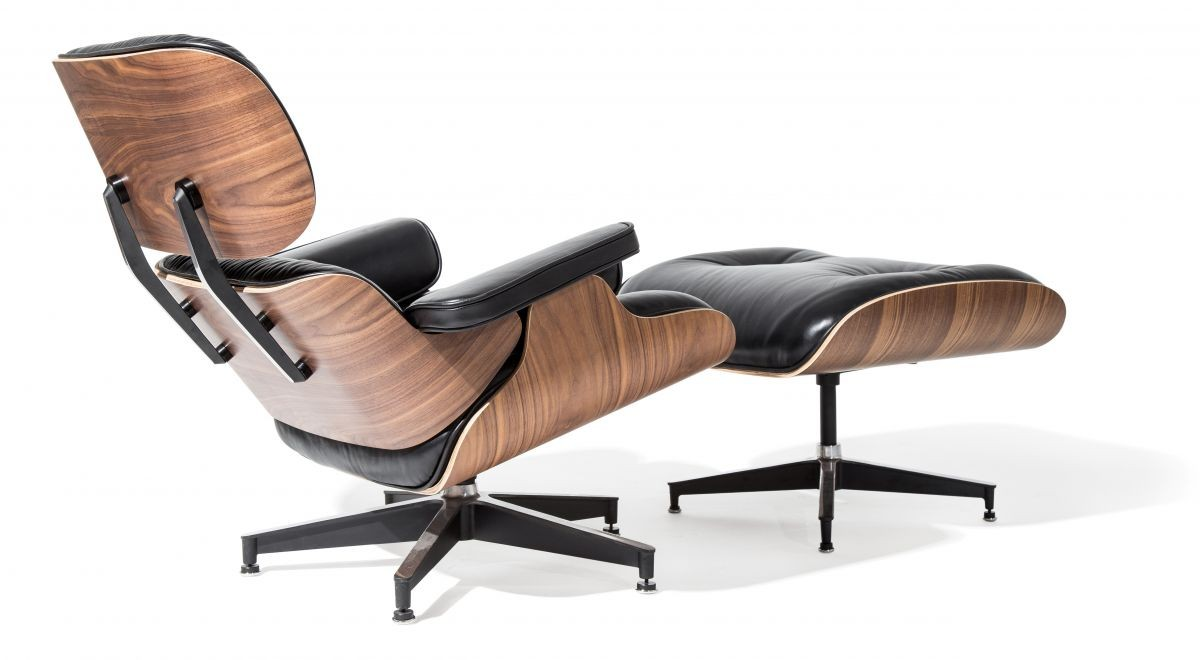 black chair and ottoman resin wicker lounge chairs sale eames style leather walnut wood replica