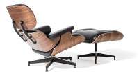 Eames Style Lounge Chair and Ottoman Black Leather Walnut ...