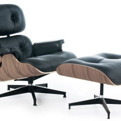 Black Leather Lounge Chair With Ottoman Swivel Patio Chairs Sale Eames Style And Walnut Wood